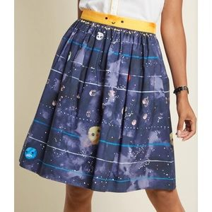 ModCloth Charming Cotton Skirt Solar System